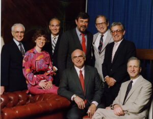 The founders of the American Society for Bone and Mineral Research, The Drake Hotel, Chicago, 1974. From left to right (standing): L. Raisz, P. Stern, L. Riggs, C. Arnaud, N. Bell, L. Avioli, (sitting) W. Peck, S. Krane.