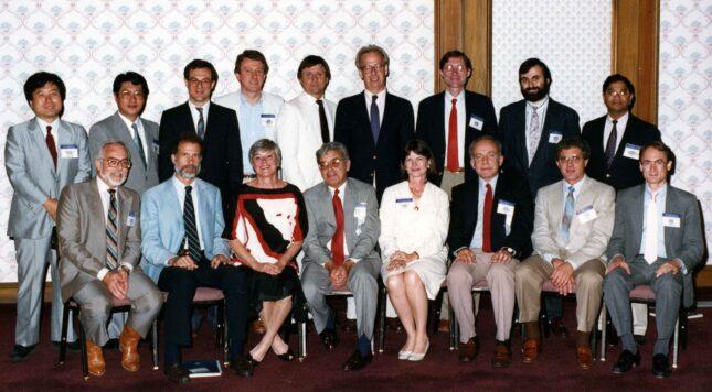 Louis V. Avioli and trainees, after accepting the ASBMR William F. Neuman Award, Marriott Hotel, New Orelans, LA, 1988. From left to right: (standing) M. Tsustumi, M. Fukase, R. Pacifici, J. Cunningham, M. Whyte, D. Baran, D. Bruns, R. Civitelli, K. Pinimanini; (sitting) M. Kleerekoper, S. Birge, S. Hohl, L. Avioli, E. Bruns, J. Haddad, T. Hahn, B. Lang.
